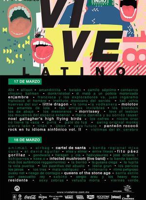 Cartel de bandas por día del Vive Latino 2018